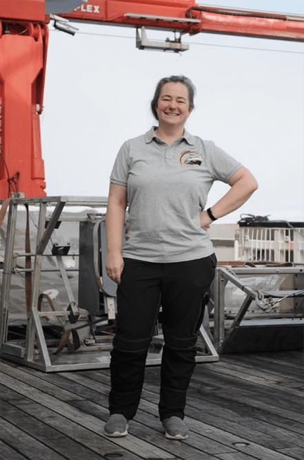 Katrin Linse in front of the two epibenthic sledges deployed during IceDivA. Photo Mia Schumacher