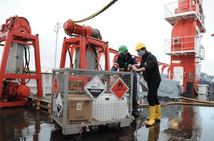 Alexander Kienecke (Biologist at Senckenberg) and Frederic Bonk (Uni Oldenburg) securing the dangerous goods