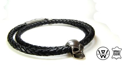 bracelet skull,bracelet cuir skull,bracelet tete de mort,bracelet cuir double tour,bracelet skull rock,bracelet rock,skull,bracelet cuir homme,bracelet,bracelet homme,bracelet homme perle,bracelet homme tendance,leather bracelet,skull bracelet,men skull