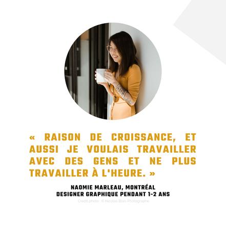 Témoignage Naomie Marleau entrepreneure design Montréal pour revue de l'Académie des Autonomes