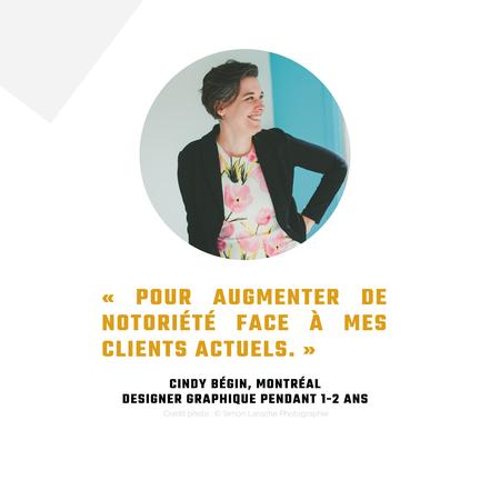 Témoignage Cindy Bégin entrepreneure design Montréal pour revue de l'Académie des Autonomes