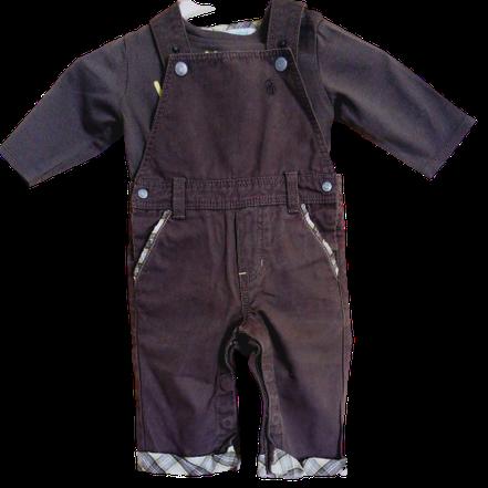 vetements bébé occasion. Salopette et T-shirt ML Obaïbi pas cher pour bébé de 6 mois