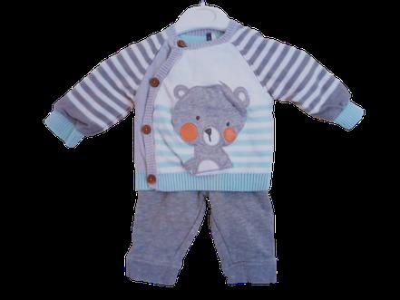 vêtements d'occasion pour bébé. Ensemble Orchestra pas cher garçon 3 mois. Pull forme cache-coeur et pantalon molleton  gris
