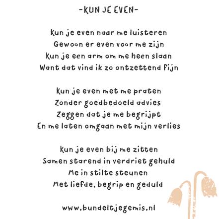 gedichtje over rouwverwerking en vriendschap