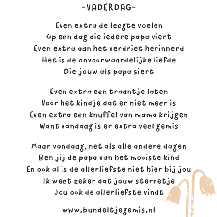 Vaderdag gedicht overleden kind