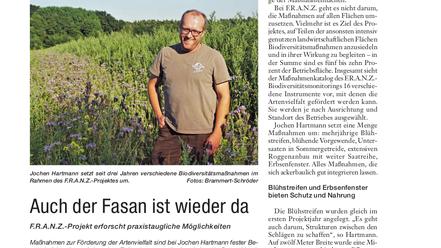 Screenshot des Artikels im Landwirtschaftlichen Wochenblatt