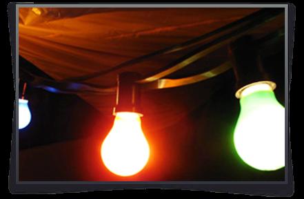Klassische Lichterkette mit bunten Glühbirnen