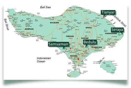 map locations of WINS Learning Centers on Bali