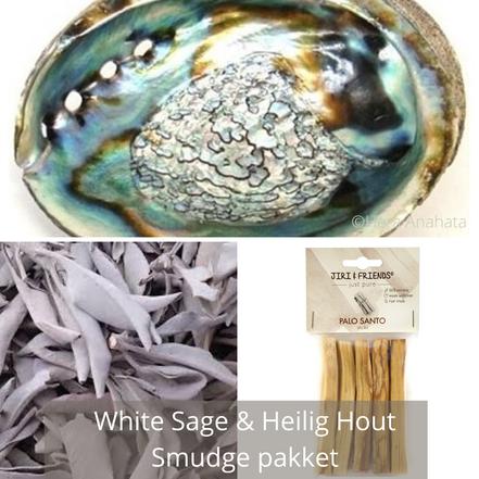 Smudge pakket met losse salie, heilig hout & XXL abalone schelp