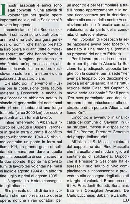 """Articolo de """"Il Montebaldo"""" n. 11 - 1995"""