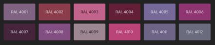 GRUPO PAVIN - Suelos y pavimentos industriales   Carta de colores RAL Classic - Tonos violetas