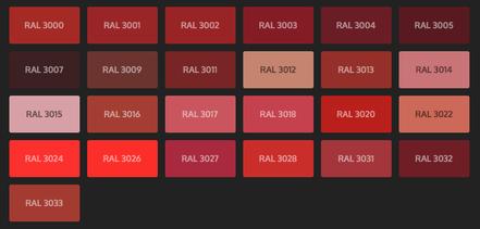 GRUPO PAVIN - Suelos y pavimentos industriales | Carta de colores RAL Classic - Tonos rojos