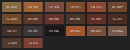 GRUPO PAVIN - Suelos y pavimentos industriales | Carta de colores RAL Classic - Tonos marrones
