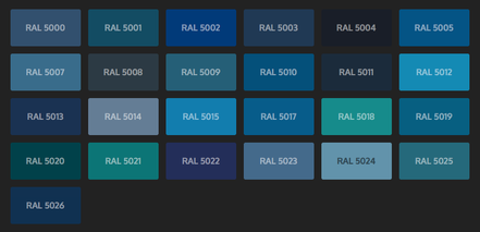 GRUPO PAVIN - Suelos y pavimentos industriales   Carta de colores RAL Classic - Tonos azules