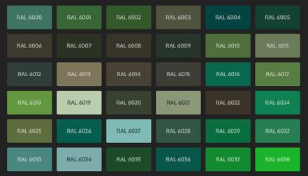 GRUPO PAVIN - Suelos y pavimentos industriales   Carta de colores RAL Classic - Tonos verdes