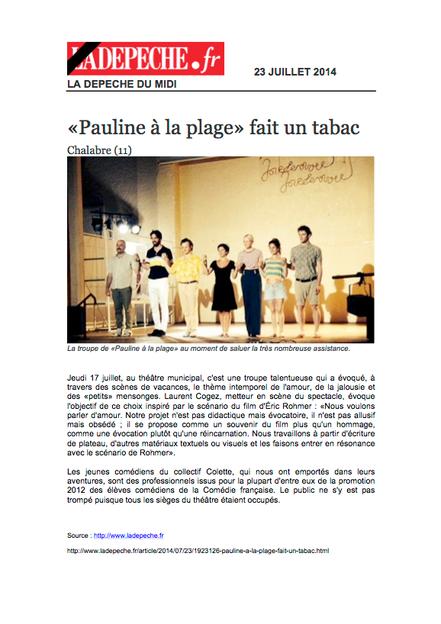 La Dépêche du midi, 23 juillet 2014