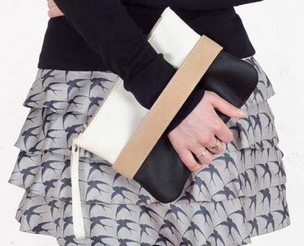 pochette cuir, blanc noir marron, sac à main femme