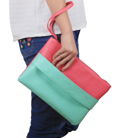 pochette cuir coloré, menthe et rose, sac cuir femme