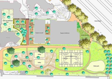 Plan masse du projet proposé pour l'EHPAD Lépine