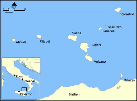 Karte der Aeolischen Inseln. © Clemensfranz