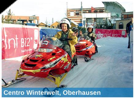 Die Motorschlittenbahn in der Centro Winterwelt, Oberhausen