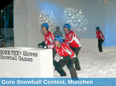 Gore snowball Contest, München, Beschneiung