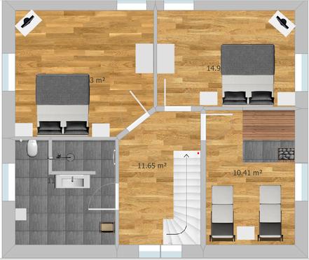 hier ist der Grundriss für das Obergeschoss abgebildet