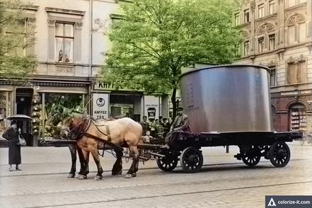 Transport per Pferd von der Firma zum Bahnhof Neustadt
