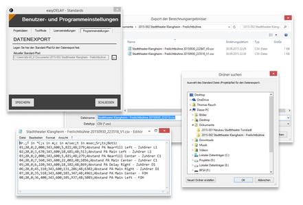 Export der Daten in das Projektverzeichnis als *.csv-Datei