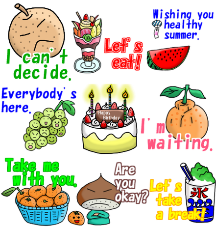 line sticker fruits orange watermelon