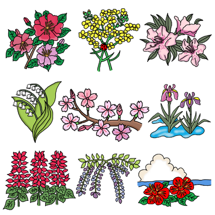 line sticker flowers rose cherry blossam