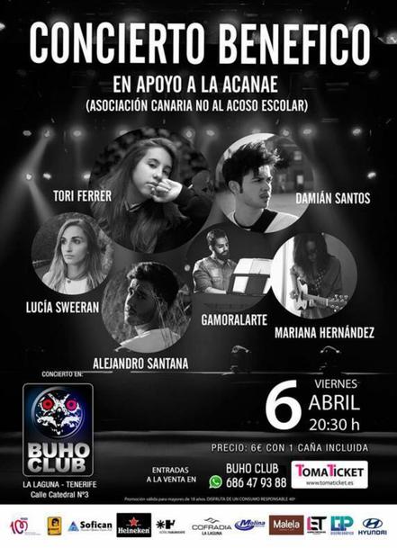 Concierto benéfico en Buho Club La Laguna a favor de ACANAE: Asociación Canaria No Al Acoso Escolar