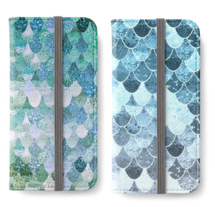 WALLET CASES WITH MERMAID SCALES for all iPhones