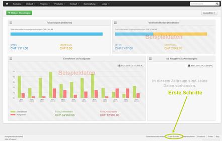 Bexio Software für Kleinstunternehmen Dashboard