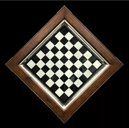 Oak framed mirror chessboard late 19th century