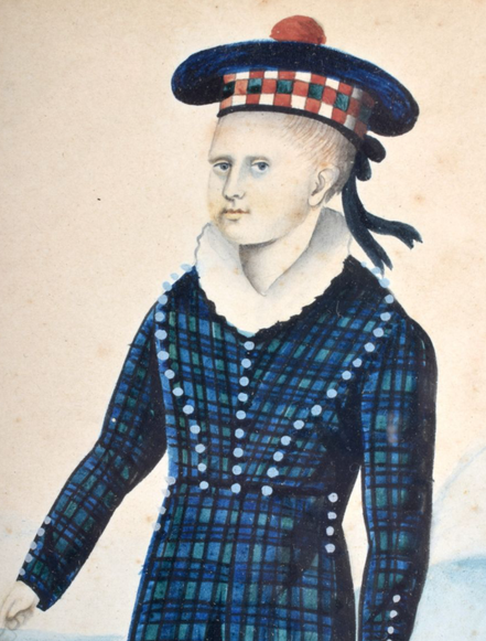 Naive Watercolour of a Boy in Tartan and Tam O'Shanter Hat