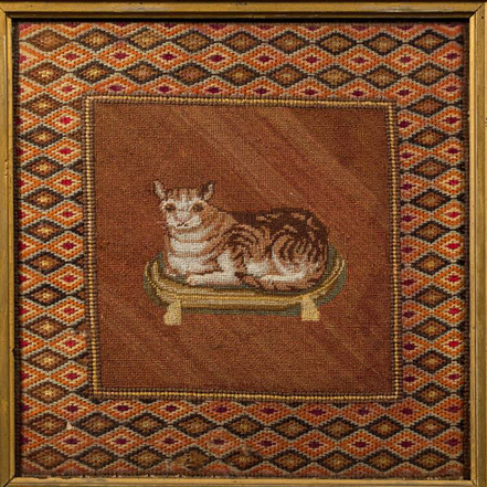 19th century Petit Point Woolwork of a Cat sat of a Cushion