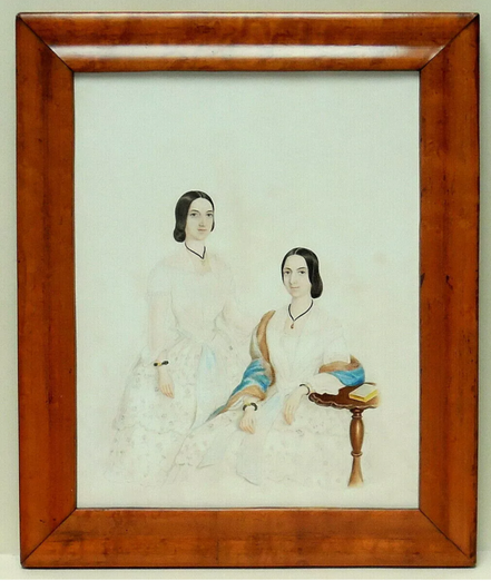 Fine watercolour of 2 sisters in white c1860