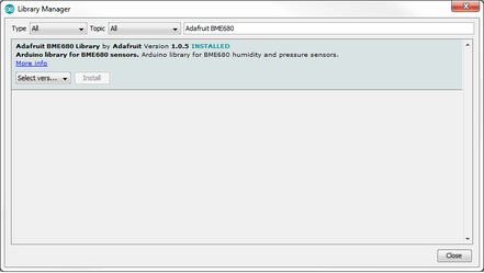 Arduino IDE: Installing Library for BME680