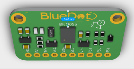 Measuring dimension from BNO055 board using Autodesk Viewer.