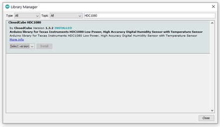 Arduino IDE: Installing BlueDot BME280 library