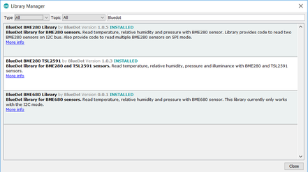 Arduino IDE: Installing BlueDot BME280+TSL2891 Library