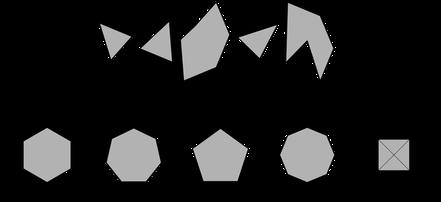Einzelteile müssen zu einer geometrischen Figur zusammengesetzt werden