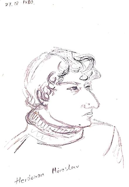 Vlado Franjević: Miroslav Herdoman (drawing, 1980)