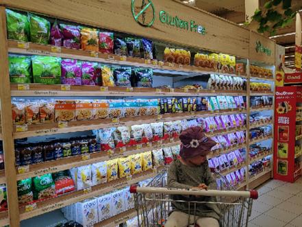 Milch-Ersatz und Glutenfreie Produkte sind auch leicht zu finden