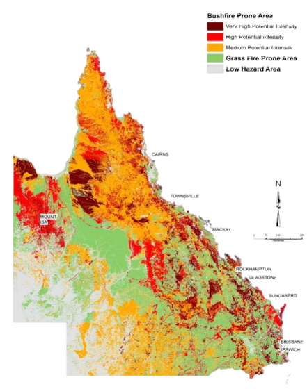 Figure 1: Bushfire Prone Area Map for Qld (Leonard et al., 2014)