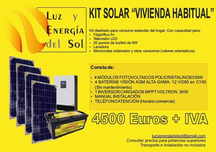 kit autoinstalable barato. luz y energia del sol