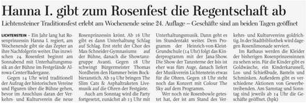 Freie Presse 05.06.2018 Hanna I. gibt Regentschaft ab