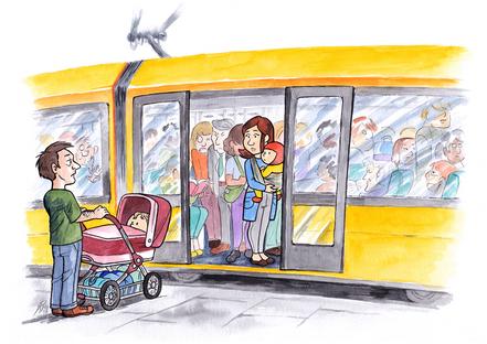 Baby im Beutel: Mit Tragehilfe oder Tuch in der vollen Straßenbahn