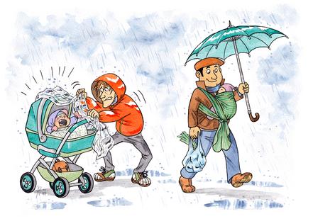 Baby im Beutel: Spaziergang im Regen mit Kinderwagen oder einfach und flexibel mit dem Baby in der Trage oder im Tuch